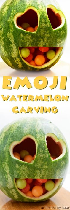 Celebrate summer with this easy and fun emoji watermelon carving! It's the perfect guest at your next pool party!