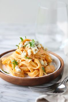 I love Bleu cheese and pasta, here I get the best of both worlds. Buffalo Chicken & Blue Cheese Fettuccine Alfredo