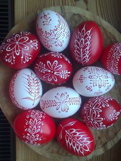 Red and white Pysanky