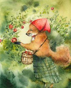 "Children's room, decor, kids, nursery- ""Greta, picking apples""- Fox art, fox watercolor. $20.00, via Etsy."