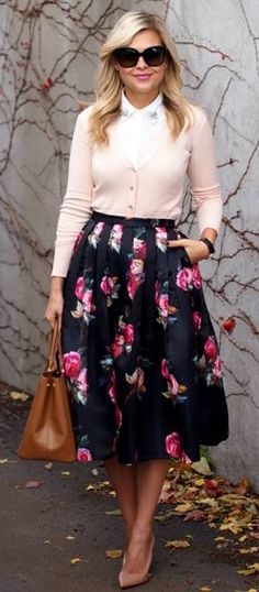 Modest Shades of Roses Pleated Midi Skirt - love the blouse with sweater. Although, I would like this outfit in blue please. :-)