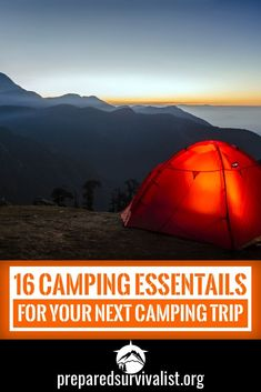 when you go camping you have a few camping essentials that a camping trip can't do without. This post has 16 comping essentials for you to take with you. Off Grid Survival, Survival Prepping, Survival Skills, Survival Supplies, Survival Hacks, Camping Needs, Camping Gear, Camping Hacks, Backpacking
