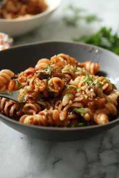 This easy Moroccan eggplant caponata pasta salad is a great cold summer recipe. It's similar to the Italian antipasti but spiced with cumin and cinnamon.