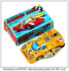 Racing Car, YONEYA / YONE, Japan (2 of 3). Vintage Tin Litho Tin Plate Toy. Wind-Up / Clockwork Mechanism. With spark.