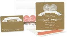 Rustic Heart Wedding Invitations: Modern Rustic Invitations. Kraft and Coral. Heart and Banner Invitation. Rustic Chic Wedding Invite. by AnnaLouAvenue on Etsy