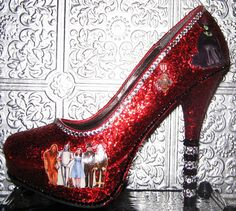 Wizard of Oz red glitter heels with sealed images by STEAMHATTER, $85.00