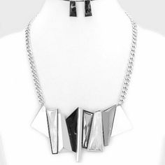 Marble Metal Bar Bib Chain GEO MARBLE METAL BAR CLUSTER CHAIN BIB NECKLACE Jewelry Necklaces