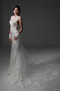 jillian 2017 bridal sleeveless illusion jewel v neckline heavily embellished bodice satin skirt elegant sheath wedding dress illusion back chapel train (mirta) mv