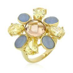 Multi-Cubic Zirconia Floral Golden Ring
