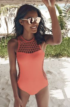Mesh High Neck One-Piece Swimsuit