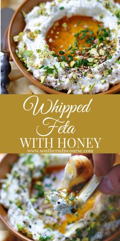 Sweet salty and velvety rich this easy whipped feta dip with cream cheese honey garlic and a little spicy kick from cracked pepper is perfect for parties weekends or any time you want to share a Yummy Appetizers, Appetizers For Party, Appetizer Recipes, Feta Cheese Recipes, Tapas Party, Lunch Party Foods, Dessert Recipes, Recipes Dinner, Easy Summer Appetizers