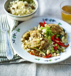 This recipe was created by Angela Hartnett specifically for the Great British Budget Banquet Dinner and shows you how to get more value from a roast chicken by using the carcass to make stock for a fragrant rice. Chicken Recipes Video, Healthy Chicken Recipes, Rice Recipes, Cooking Recipes, Turkey Recipes, Healthy Meals, Delicious Recipes, Healthy Food, Dinner Recipes