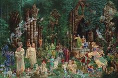 "Court of the Faeries - James Christensen  ""The silver-haired seated faery is my daughter Emily, and the baby in her lap is my eldest granddaughter, Sunshine."""