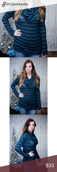 SALE! Teal Striped Cowl Neck Sweater So cute and warm! Relaxed fit! No trades. Kyoot Klothing Sweaters