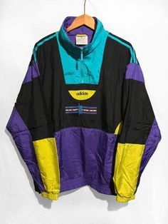 ULTRA RARE Adidas Windbreaker jacket 1 4 Zip pullover Urban Sports 80s  Multicolor Teal Black Purple Yellow SIze D9 Xl XXl b61f1e83db3d7