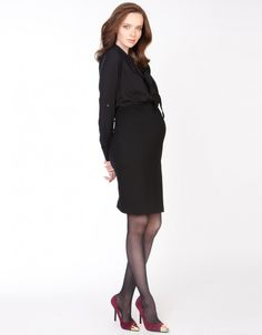 Black Empire Blouse Maternity Dress