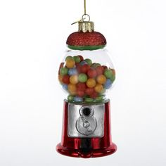 Fumbling around in your pocket for that quarter, hoping for the red gumball, turning the crank, and out pops your gumball. The thrill and excitement will all come flooding back with this great replica gumball machine ornament. Glass Christmas Decorations, Christmas Tree Themes, Glass Christmas Ornaments, Holiday Decor, Kurt Adler Ornaments, Candy Land Christmas, Wooden Spools, Gumball Machine, Personalized Christmas Ornaments