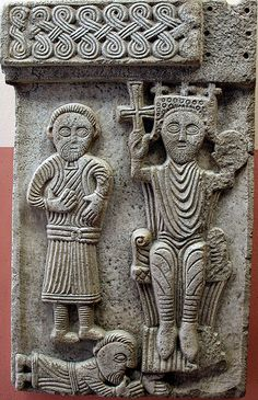 A Croatian king relief, now in the baptistry of Sv. Duje cathedral in Split, XI century. Pre Romanesque, Romanesque Architecture, Church Architecture, Dalmatia Croatia, Early Middle Ages, 11th Century, Sculpture Art, Geometric Sculpture, Ancient Art