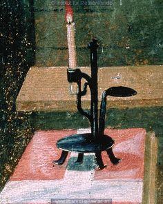Candle Holder, detail from Errettung eines neugeborenen Kindes: Kunstwerk: Temperamalerei-Holz ; Tafelbild ; Votivbild ; Salzburg  Dokumentation: 1513