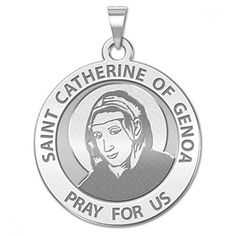 Stylephyle Collection Saint Catherine of Genoa Round Religious Medal - 14K Yellow or White Gold, or Sterling Silver