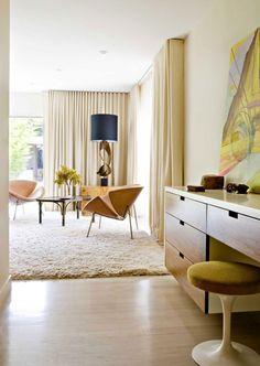 A mid-century modern bedroom