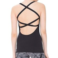 7f6c601d191700 Fit Frenchie Women Open Back Workout Spaghetti Strap Camisole Yoga Tank Top  with Built in Bra (Medium