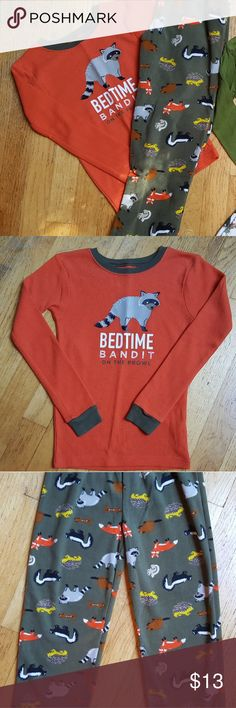 2-piece Raccoon & Forest Friends Pajamas 2-piece set. Thermal top & heavy fleece bottoms. Excellent condition, very minor pilling Carter's Pajamas Pajama Sets
