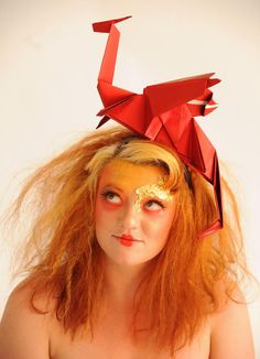 Dragon origami head piece by Siofra Connor