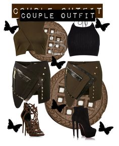 """""""Couple Outfit 4"""" by bamffaith on Polyvore featuring Anthony Vaccarello, River Island, Giuseppe Zanotti, Christian Louboutin, Bling Jewelry, LoveisLove and girlxgirl"""