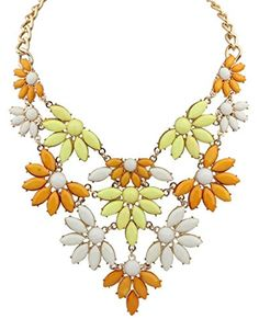 JSDY Womens Bohemia Resin Chunky Flowers Pendants Choker Necklaces Jewelry Yellow -- Be sure to check out this awesome product.