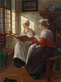 Two Girls at the Window - Walther Firle (german painter) -   1903