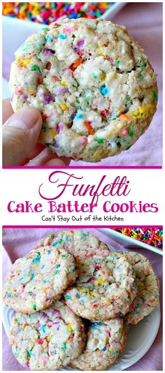 Funfetti Cake Batter Cookies Cant Stay Out of the Kitchen these fantastic cookies are so quick and easy to make since they start with a cake mix Add lots of funfetti sp. Cake Batter Cookies, Funfetti Cookies, Sprinkle Cookies, Shortbread Cookies, Cookies With Cake Mix, Cake Batter Bars, Funfetti Cookie Recipe, Cake Batter Cheesecake, Sweets