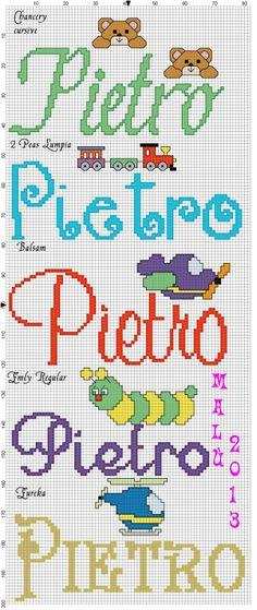 Pietro con vai disegnini Cursive, Alphabet, Cross Stitch, Bullet Journal, Pattern, Car, Cursive Alphabet, Cross Stitch Font, Proper Nouns