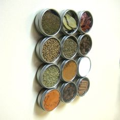 12 Magnetic Spice Rack Tins Containers - Round Silver Kitchen Refrigerator Storage Organization or Make Your Own Magnetic Spice Rack. $28.00, via Etsy.