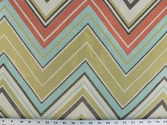Jacquard Chevron Fabric, Sky Blue, Coral-Orange, Green, Brown, Ivory, Zig Zag Drapery/Upholstery Fabric (1) Yard 36'' Length, 54'' Width