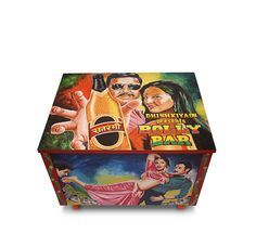 Hand Painted Wooden Bar Box. Use it as a Bar or as an Art show-piece.
