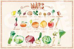 Comme chaque mois voici le calendrier des fruits & légumes de saison en France.   CLIQUEZ POUR VOIR LIMAGE EN GRAND!     Le calendrier...