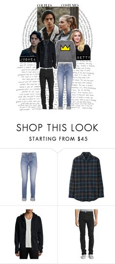 """""""Couples Costume: Bughead"""" by thefandomgirlsofficial ❤ liked on Polyvore featuring Yves Saint Laurent, Uniqlo, ourCASTE and Versace"""
