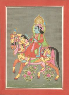 Krishna Miniature Artwork. You'll love this colorful and detailed miniature painting of Krishna which is depicted with a fine brush. It shows Krishna riding a composite horse which is full of pictures of his beloved Radha.