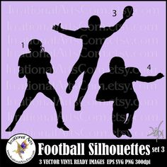Football Silhouettes set 3  with 3 Vector Vinyl by IrrationalArts