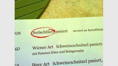 Seelachfilet - gefunden in einem deutschen Restaurant in Speyer Pork Cutlets, Speyer, Food Menu