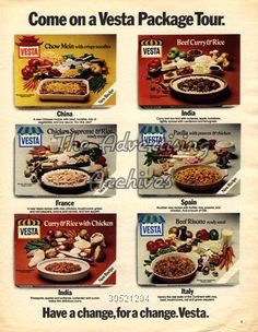 Vesta meals ad from the 1970s. You were considered sophisticated if you bought these!