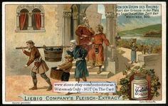 Grape Wine Harvest On The Rhein In 600 AD c1900 Card