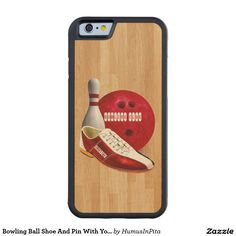 Bowling Ball Shoe And Pin With Your Custom Name Carved® Maple iPhone 6 Bumper