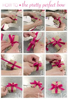 How to tie a pretty perfect bow! This technique can be done with your ribbon of choice and leaves the bottom of the box flat and ready to be stacked on top of a tower of gifts, or to sit nicely on its own. Christmas Bows, Christmas Gift Wrapping, Christmas Gifts, Holiday, Gift Ribbon, Gift Bows, How To Tie Ribbon, How To Make Bows, Craft Gifts