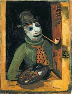 Felix Nussbaum (German-Jewish: 1904 – 1944) - 1935c. Painter with Mask (Private Collection)