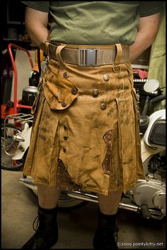 Steampunk Welder's Kilt by techdragon on Etsy, Kilt Skirt, Man Skirt, Tactical Kilt, Kilt Pattern, Modern Kilts, Leather Kilt, Suede Leather, Tartan, Larp
