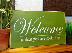 Welcome Sign-No Soliciting Sign-Front Door Sign-Handmade Wood Plaque