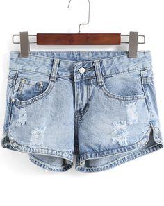 Shorts rotos tachuelas denim-(Sheinside)