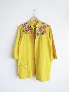 Mumbai Embroidered Blouse // Vintage Yellow Blouse (M/L) SOLD
